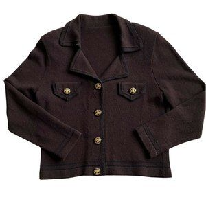 Vintage Knitted Cardigan Sweater Brown Gold Button